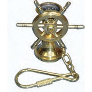 Messing-Schlüsselanhänger Steuersäule+Kompass