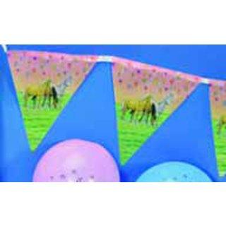 Partygirlande Traumpferdchen pink mit 10 Wimpeln.