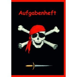 Aufgabenheft A6 Piratenflagge, 32 Blatt weißes Recyclingpapier